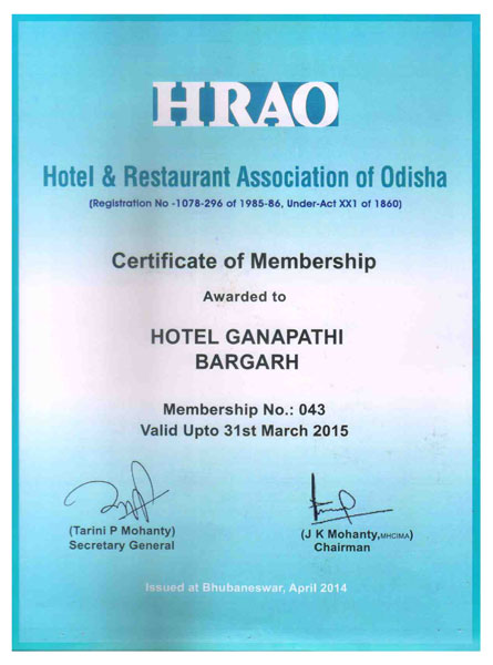 Hotel Ganapathi, Bargarh, HRAO Certificate